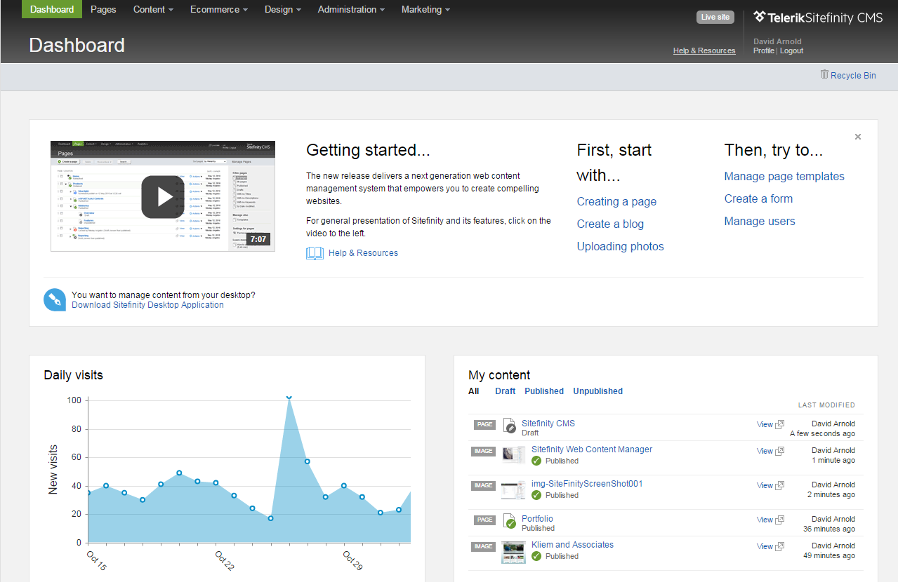 Sitefinity Web Content Management System Dashboard